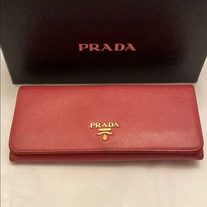 PRADA Saffiano Pink Leather Long Bifold Wallet